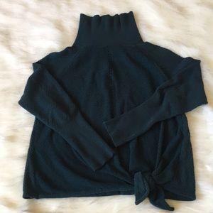 XL Forest Green Turtleneck Sweater with Tie Waist